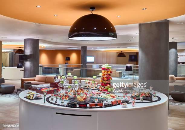 breakfast buffet in hotel in moscow - バイキング ストックフォトと画像