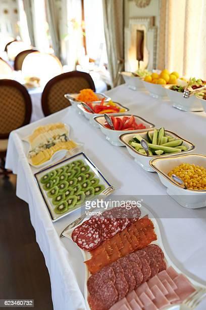 Breakfast buffet in the luxury trans siberian express train