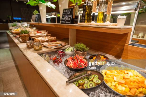 breakfast buffet in the restaurant - buffet stock pictures, royalty-free photos & images