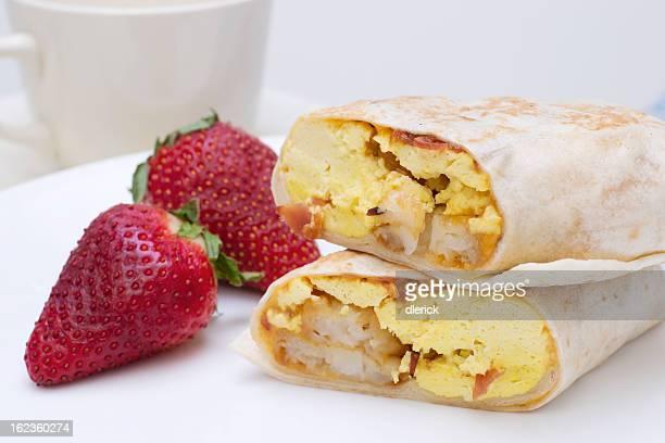 Breakfast Burrito and Fresh Strawberries