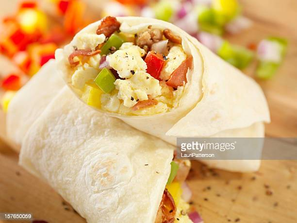breakfast burrito with scrambled eggs - burrito stock pictures, royalty-free photos & images