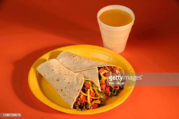 breakfast burritos - plastic plate stock pictures, royalty-free photos & images