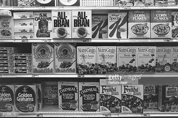 Breakfast cereal on display at a supermarket in New York City USA June 1989
