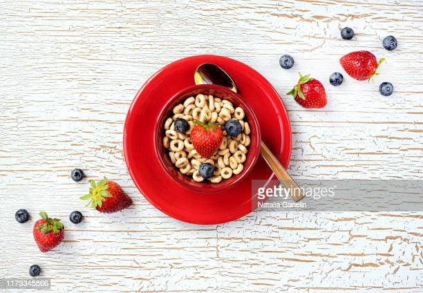 breakfast cereal with fresh fruit - saucer stock pictures, royalty-free photos & images