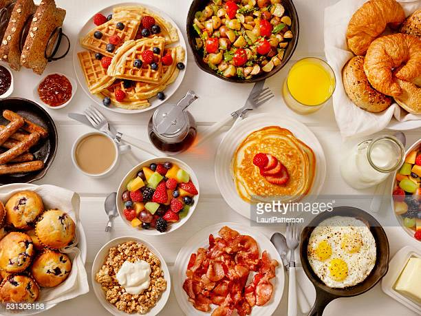 breakfast feast - pancake stock pictures, royalty-free photos & images