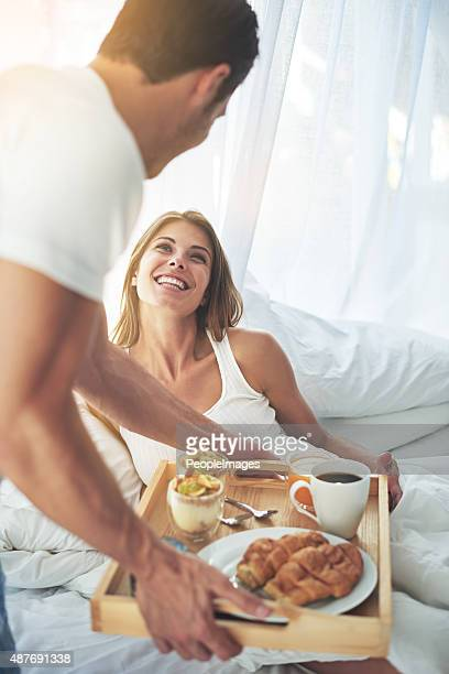 breakfast for you, baby - breakfast in bed stock pictures, royalty-free photos & images