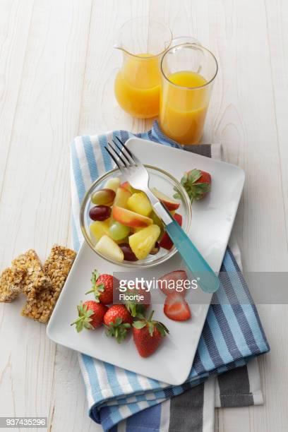Breakfast: Fruit Salad and Orange Juice Still Life