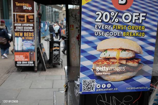 Breakfast in a bun discount offer advertisement showing bread, haloumi, egg and mushrooms on 2nd February 2020 in London, England, United Kingdom....