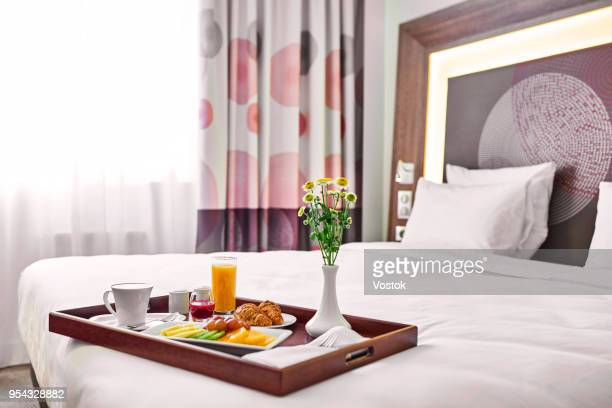 breakfast in bed in the hotel complex in moscow - breakfast in bed stock pictures, royalty-free photos & images