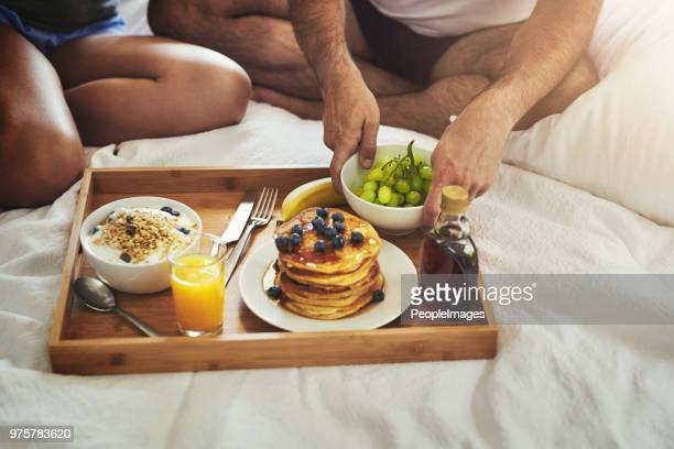 breakfast in bed is always a great idea - breakfast in bed stock pictures, royalty-free photos & images