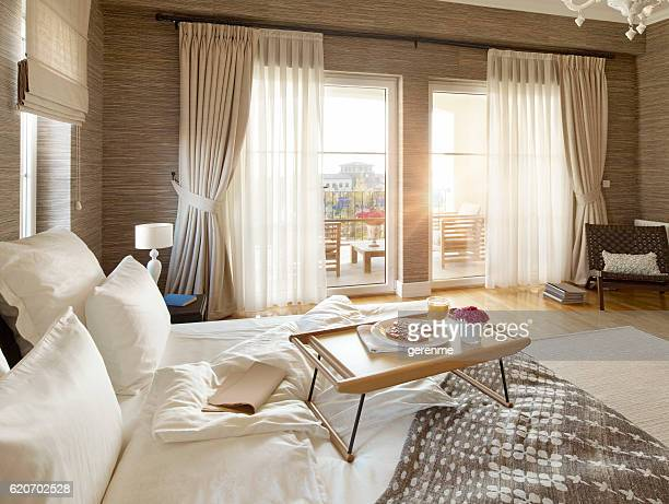 breakfast in bed - hotel stock pictures, royalty-free photos & images