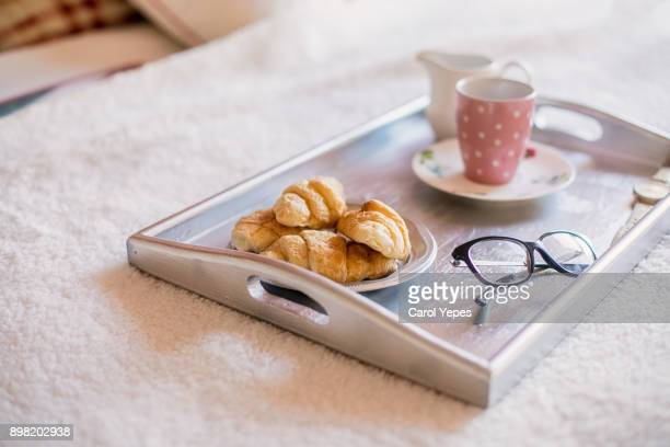 breakfast in bed - serving tray stock pictures, royalty-free photos & images