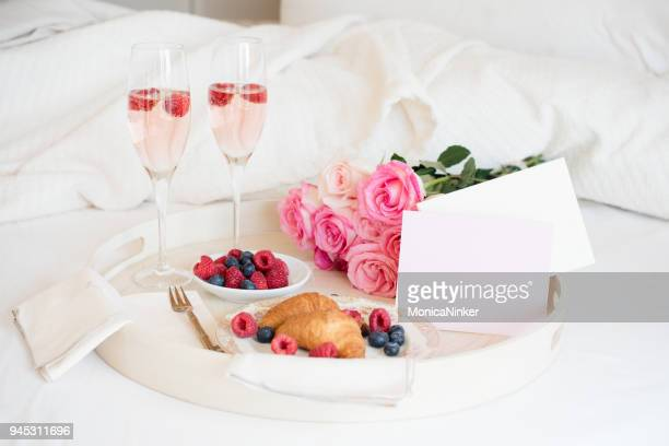 breakfast in bed - breakfast in bed stock pictures, royalty-free photos & images