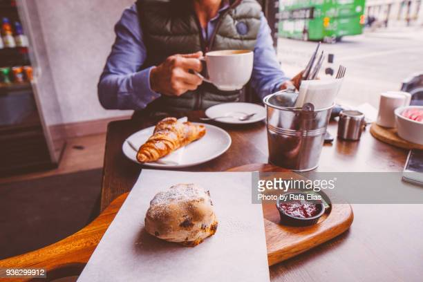breakfast in coffee shop - bun stock pictures, royalty-free photos & images