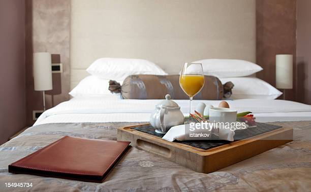 breakfast in hotel room - hotel stock pictures, royalty-free photos & images