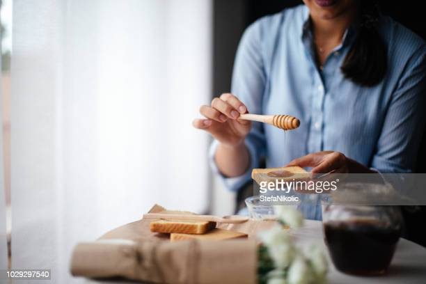 breakfast in room - honey stock pictures, royalty-free photos & images