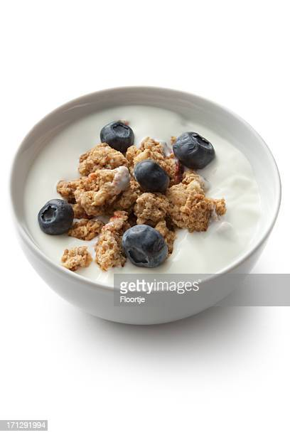 Breakfast Ingredients: Cereals and Blueberries Isolated on White Background