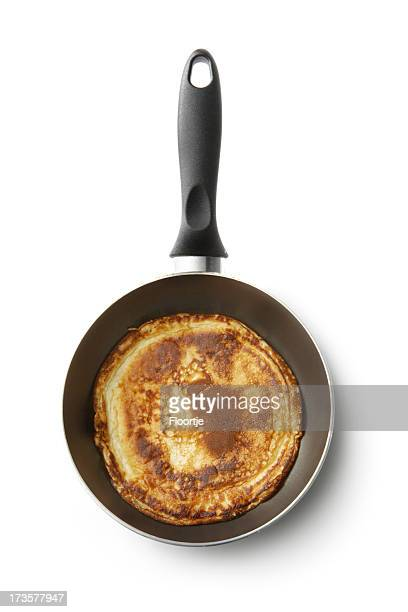 Breakfast Ingredients: Pancake in Pan Isolated on White Background