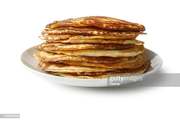 Breakfast Ingredients: Pancakes Isolated on White Background