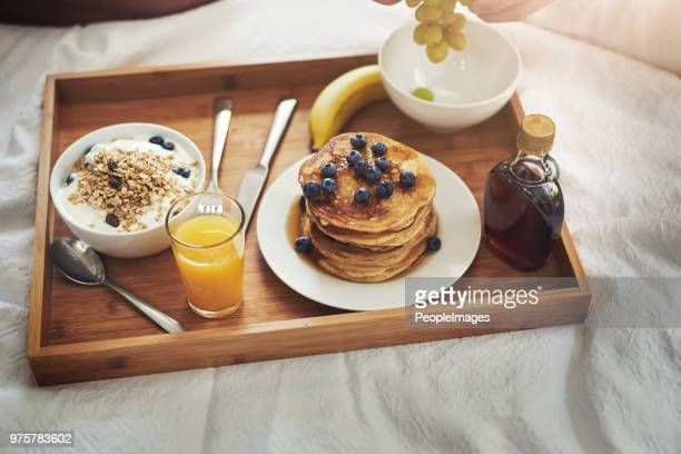 breakfast is important but breakfast in bed is paradise - breakfast in bed stock pictures, royalty-free photos & images