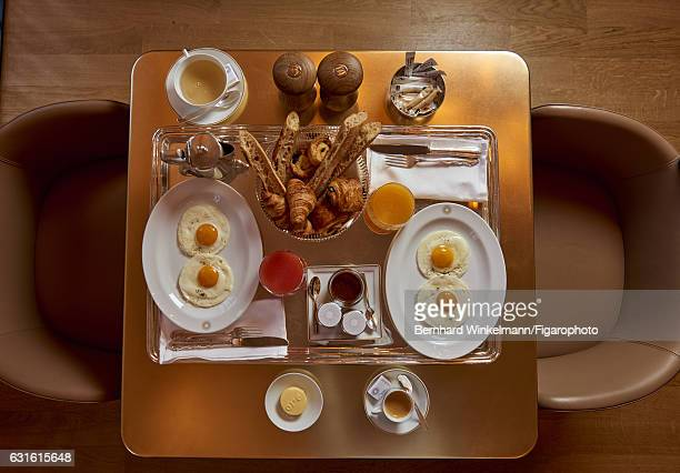 Breakfast is photographed for Madame Figaro on November 25 2016 in Versailles France Alain Ducasse's Ore the contemporary restaurantcafe in the...