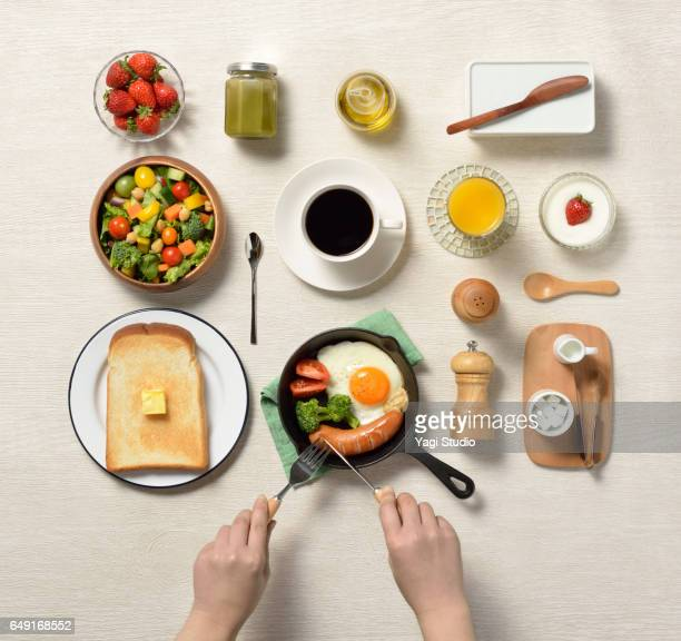 breakfast knolling style - knolling concept stock pictures, royalty-free photos & images