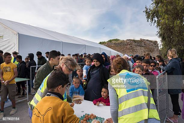 Breakfast line in Souda refugee camp on Chios