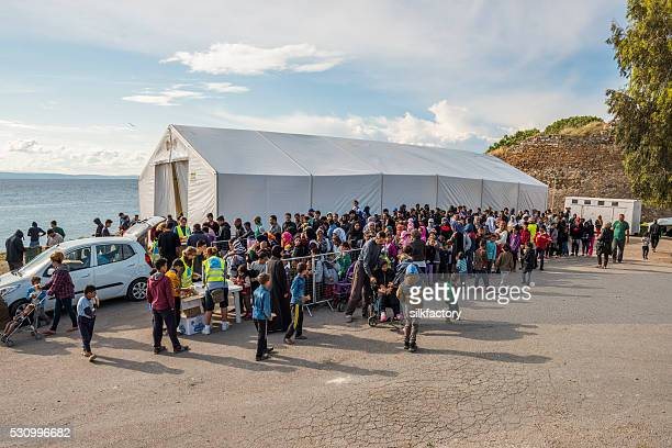 Breakfast line in Souda refugee camp on Greek Island Chios