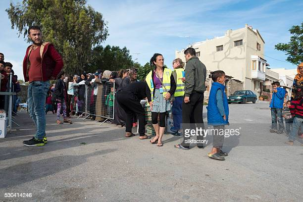 Breakfast lines in Souda refugee camp on Greek Island Chios