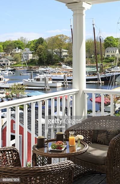 Breakfast on balcony at hotel overlooking harbor