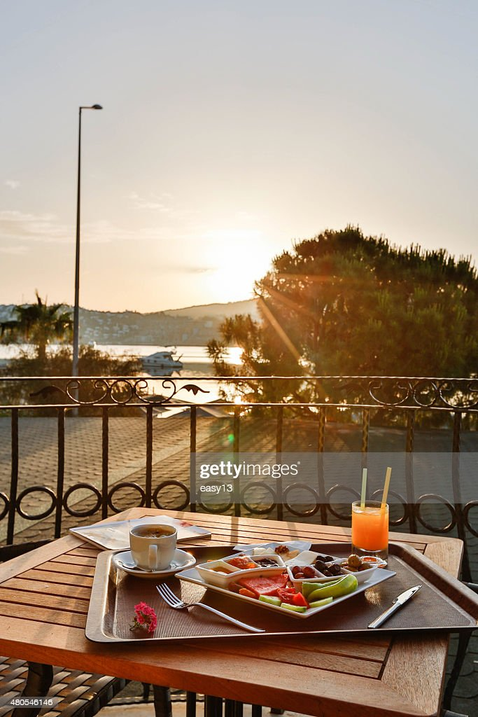 Breakfast on the balcony with sunshine : Stock Photo