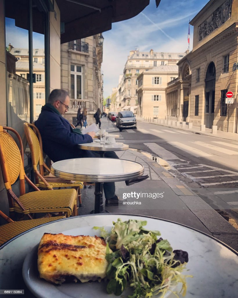 Breakfast outside in Paris cafe, France : Stock Photo