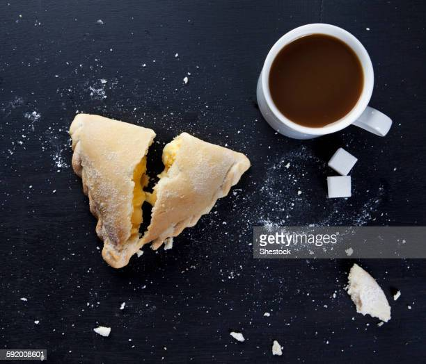 Breakfast pastry and cup of coffee