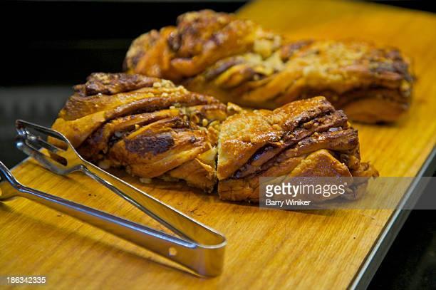 Breakfast pastry on cutting board