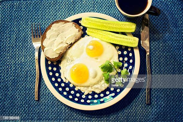 Breakfast plate on blue placemat