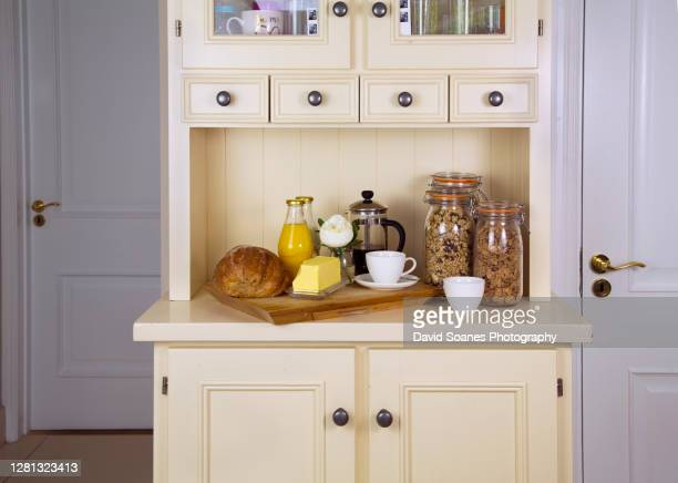 a breakfast presentation in a kitchen - david soanes stock pictures, royalty-free photos & images
