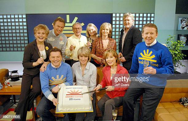 BBC Breakfast presenters past and present celebrating the programme's 25th Anniversary including Angela Rippon Francis Wilson Chris Hollins Glyn...