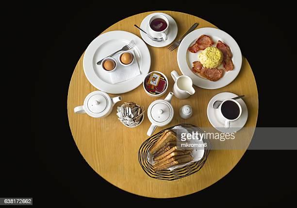Breakfast room service in hotel room