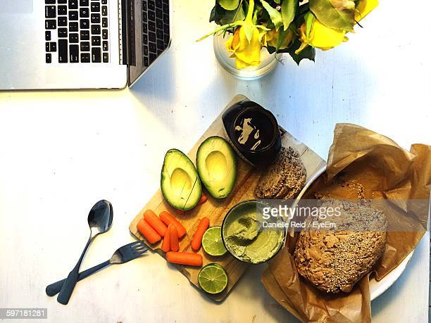 breakfast served on table - danielle reid stock pictures, royalty-free photos & images