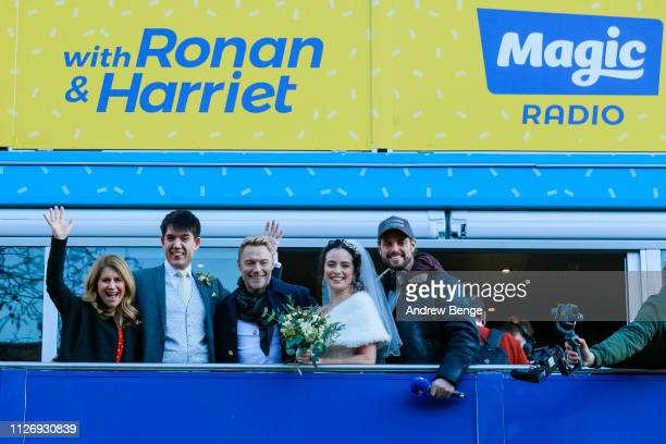 Breakfast show presenters Harriet Scott and Ronan Keating with his Boyzone bandmate Keith Duffy pose with newly wed couple Aaron Winslowe and Lucy...