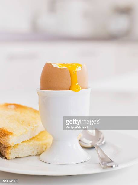 Breakfast still life with soft boiled egg
