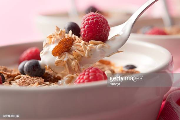 Breakfast Stills: Cereals with Raspberries and Blueberries