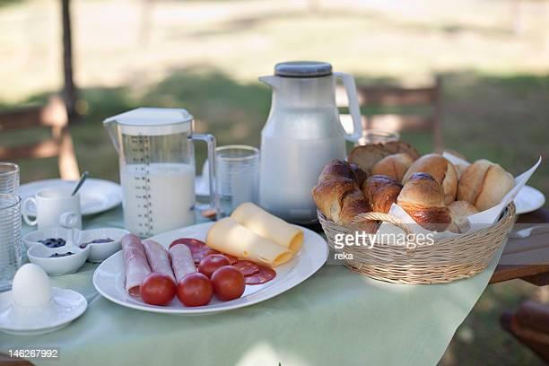 Breakfast table outdoors