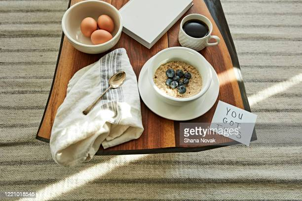"breakfast table setting with a note fo encouragement: you got this - ""shana novak"" stock pictures, royalty-free photos & images"