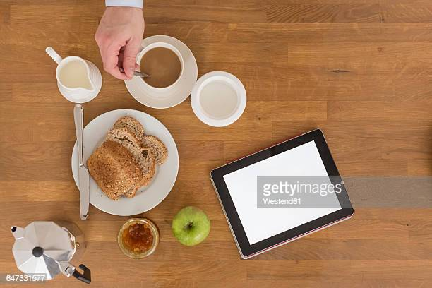Breakfast table with digital tablet