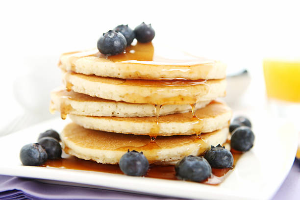 breakfast table with pancakes