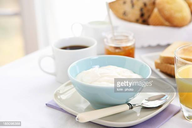 breakfast table with yogurt
