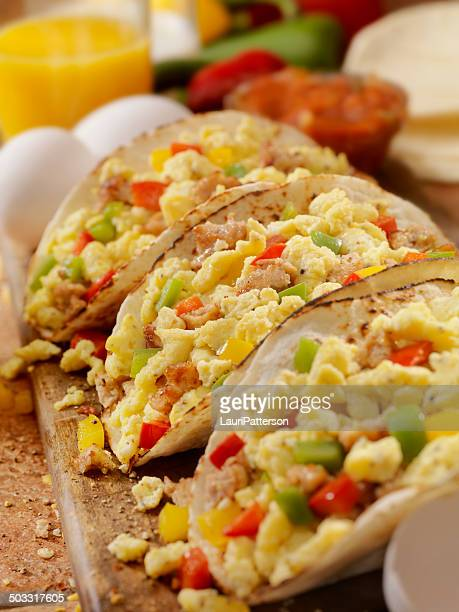 breakfast taco - tortilla flatbread stock photos and pictures