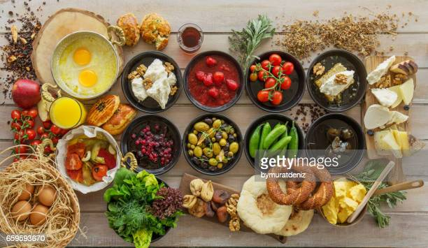 breakfast time on wooden table - breakfast stock pictures, royalty-free photos & images