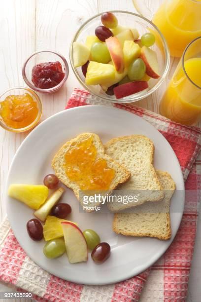Breakfast: Toast, Fruit Salad and Orange Juice Still Life
